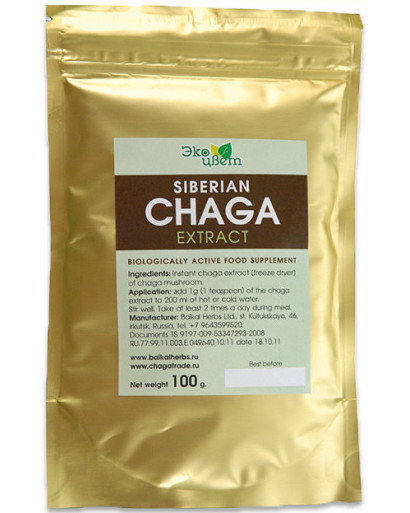 Freeze dried   Wild siberian CHAGA mushroom extract 100 gram 3.oz cancer tumor  57% of chromogenic complex.