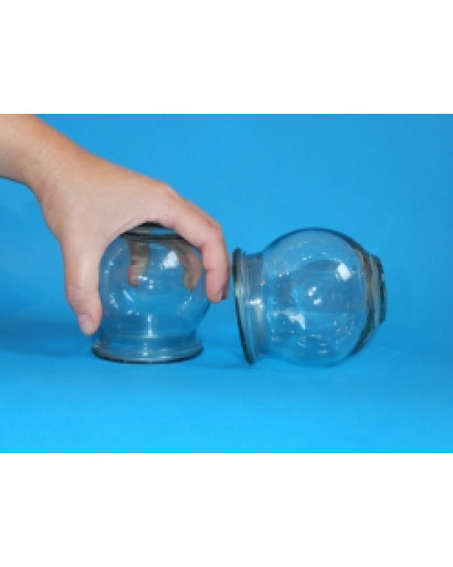 Set of 12 glass massage cups for fire cupping therapy hijama big size diam 8 cm