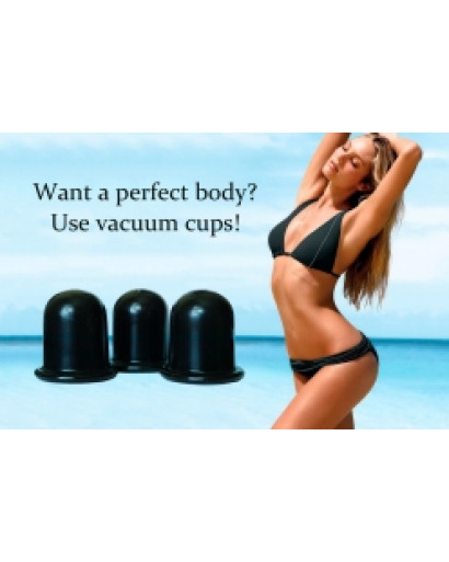 Set of 3 black  color  Vacuum  massage cupping-glass silicone