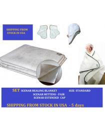 SET Scenar energy blanket Healing blanket OLM energizer  Size Standard 220*160 cm; Mittens and cap FROM USA STOCK